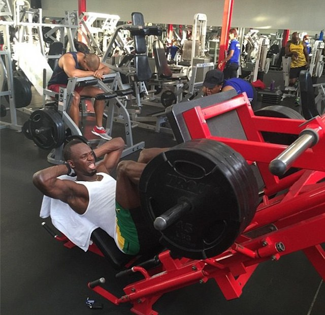 Usain Bolt Training in Gym