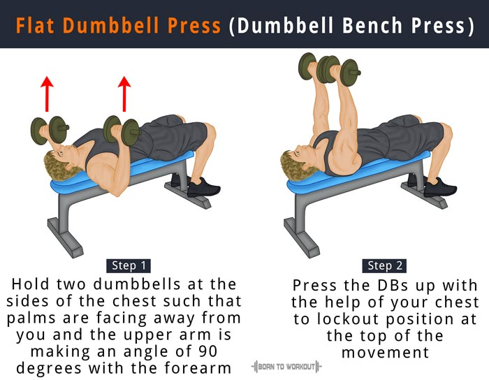 How To Do Flat Dumbbell Press Dumbbell Bench Press Born To Workout