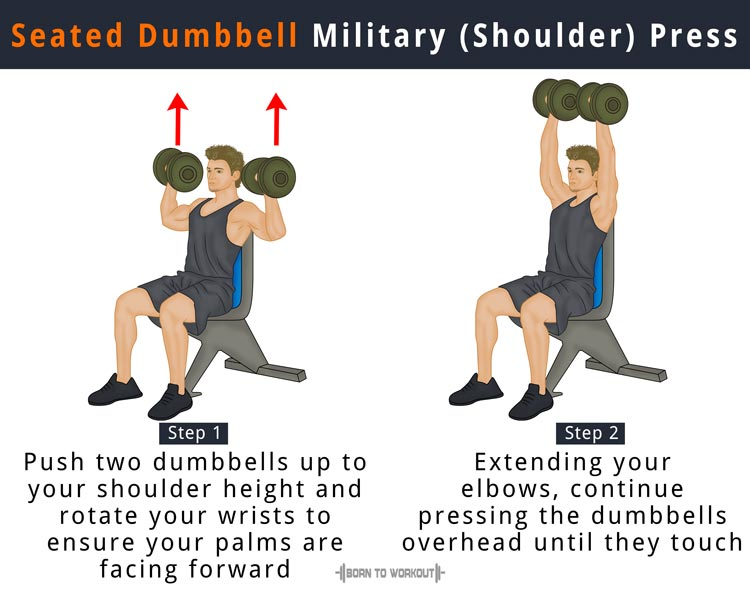 How to do Dumbbell Military Press (Dumbbell Shoulder Press) | Born