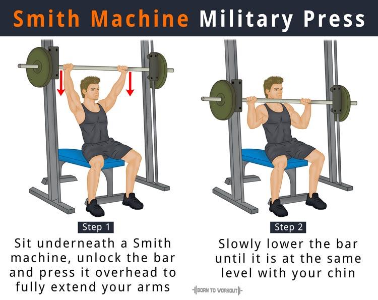 Smith Machine Military Press (Smith Machine Shoulder Press) | Born